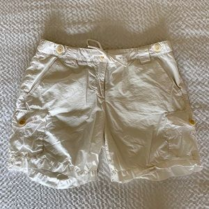 White J Crew cargo shorts drawstring and button